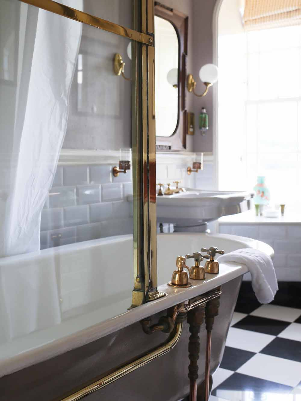 Victorian brass cabinet bath | The Inn at Whitewell