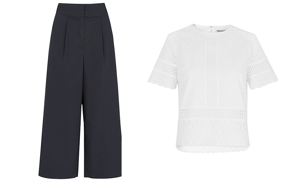 Whistles Poplin trousers & broderie cotton top | Design Hunter