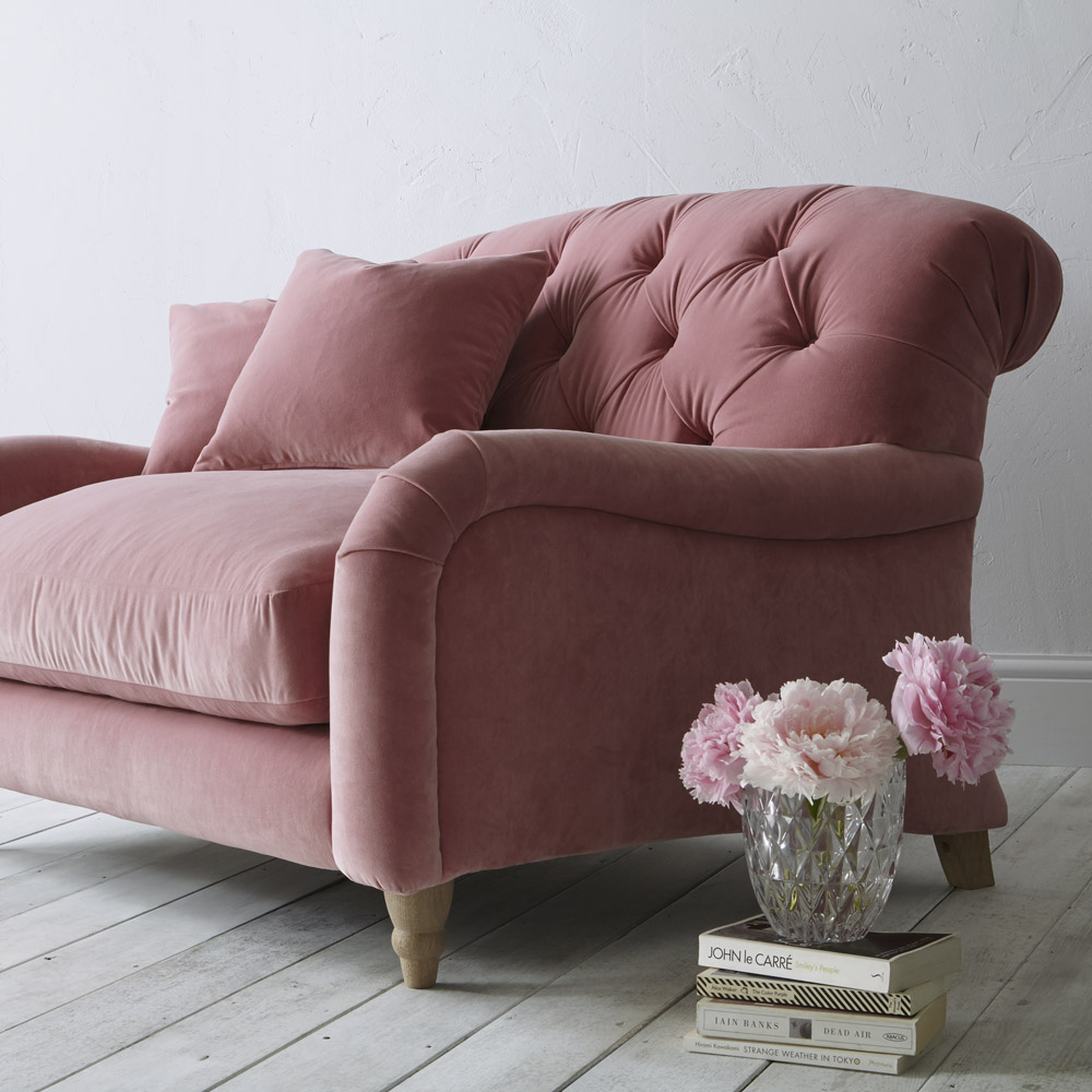 Pink velvet buttoned sofa by Loaf for John Lewis | Design Hunter