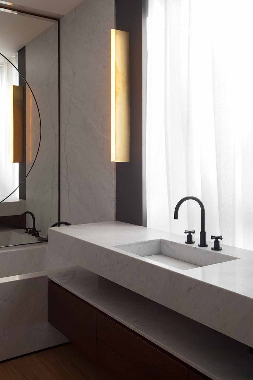 Marble bathroom in Moscow apartment by FORM Architects