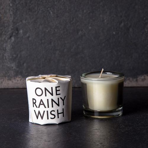 One rainy wish votive candle