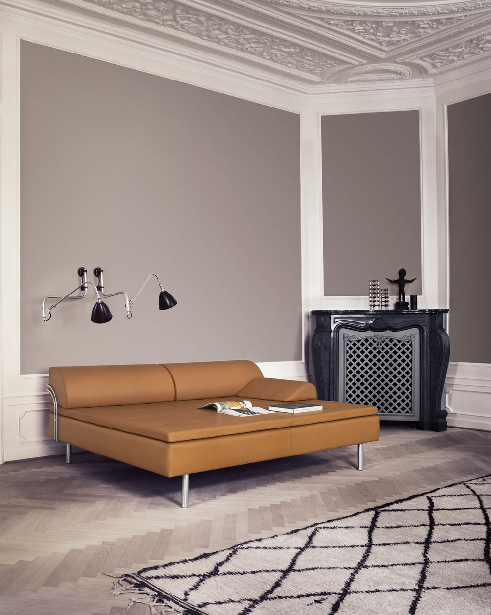 Spectacular Diva daybed by Gubi and Bestlite wall lamps
