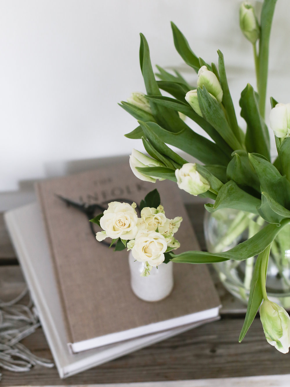 Tulips and spray roses in vases from The White Company | Design Hunter
