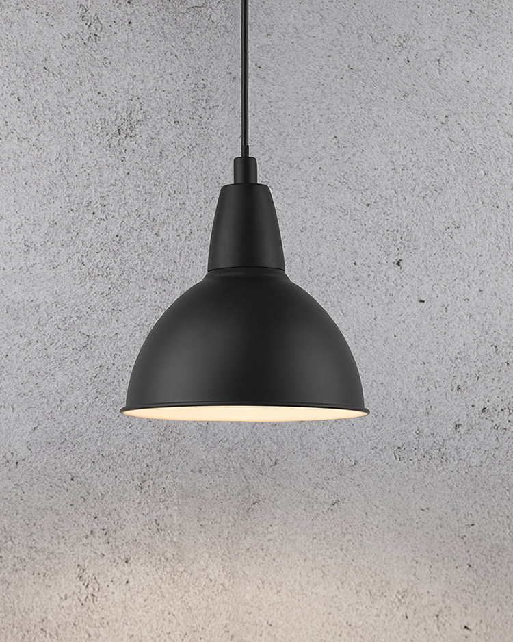 3. - Matte black industrial style pendant lightI can think of no end of places where the simple styling of this industrial style pendant would fit right in. Personally I'd hang it over a huge marble kitchen island (if I had one obviously), but it would work just as well in an office or workplace setting, or above a dining table.A by Amara - £32