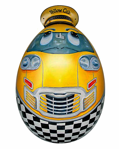 """Sunny, The Original New York Taxi Egg"" comes to Manhattan in all of his Glory."