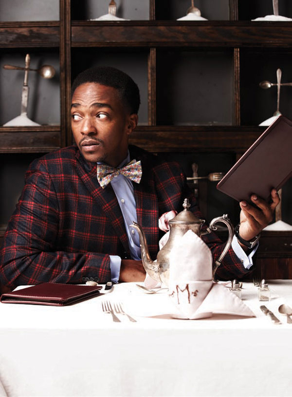 Anthony Mackie wears  Flesh  Pocket Square in Playboy Magazine