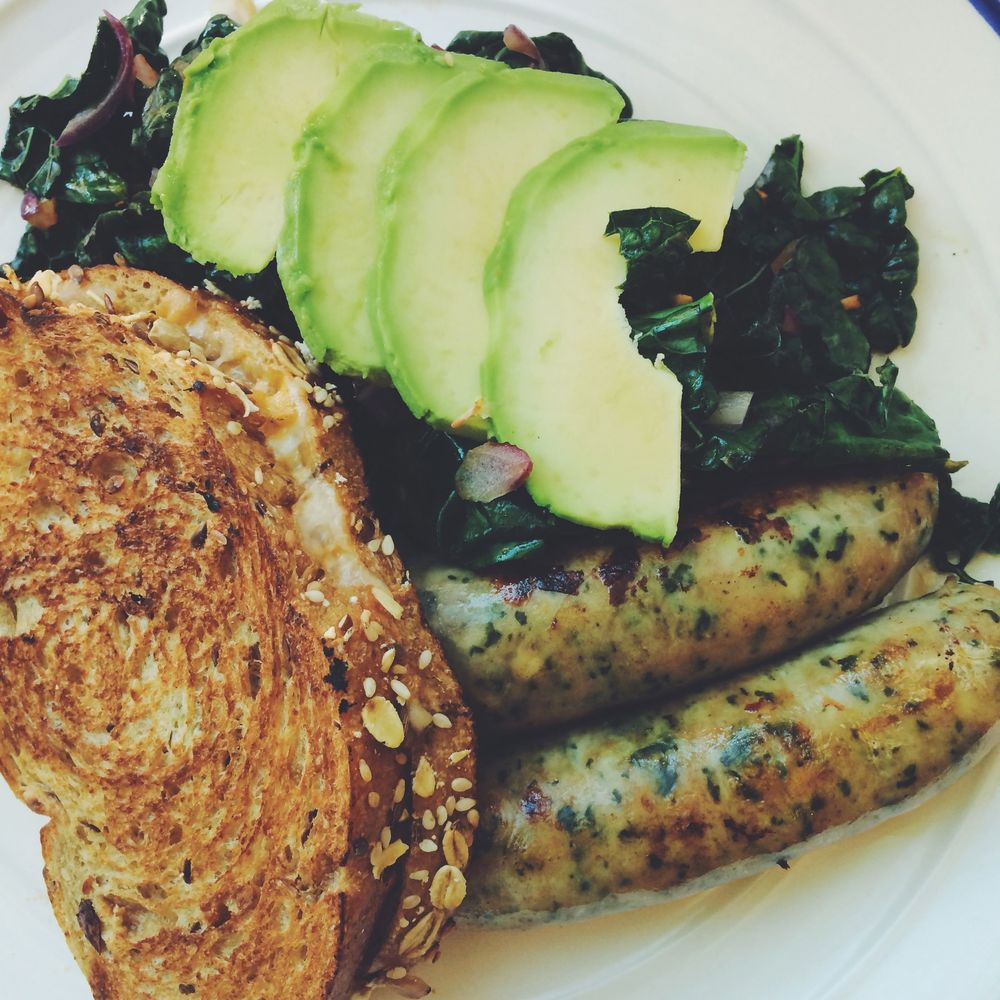 Grilled Cheese, avocado salad and chicken sausages