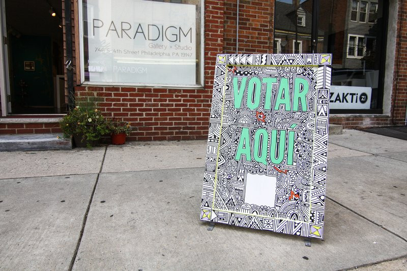 Vote Here sign by artist, Sophie Roach. Photo: PhillyVoice