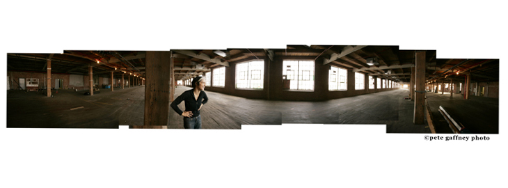 Heather Nicol in the 30,000 square foot warehouse