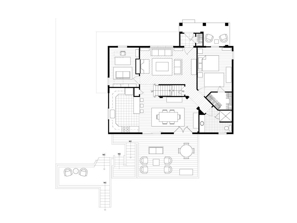 First Floor Furniture Plan Drafted by Jessica Benari Designs Prior to be Rendered