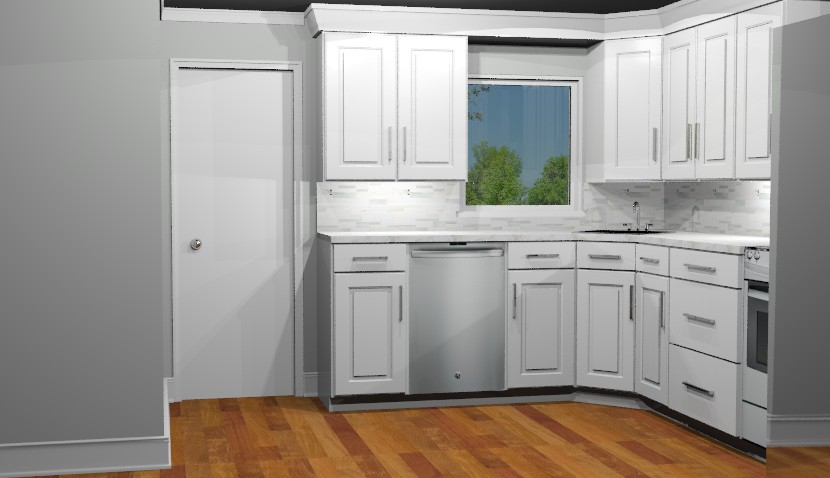 3D Computer Rendering of new kitchen space illustrating white cabinetry.