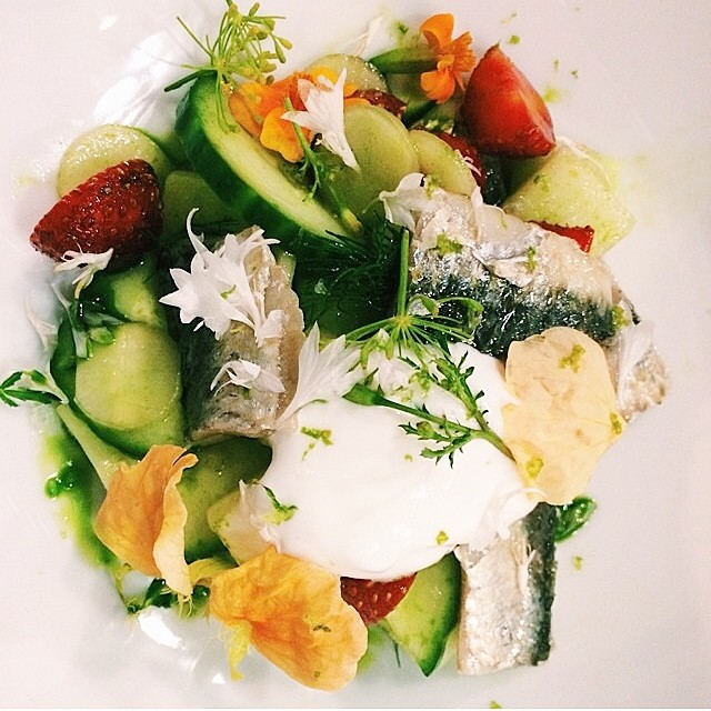 @geomendes new dish. Cucumber and wild strawberry salad.