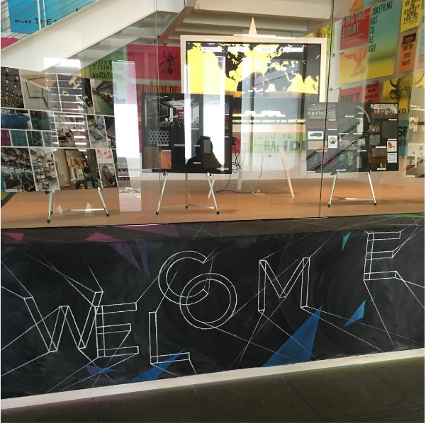 This is the first thing you see walking into the doors of Barkley! The Welcome sign is chalk and gets re-written here and there. I'm not sure how often yet though.
