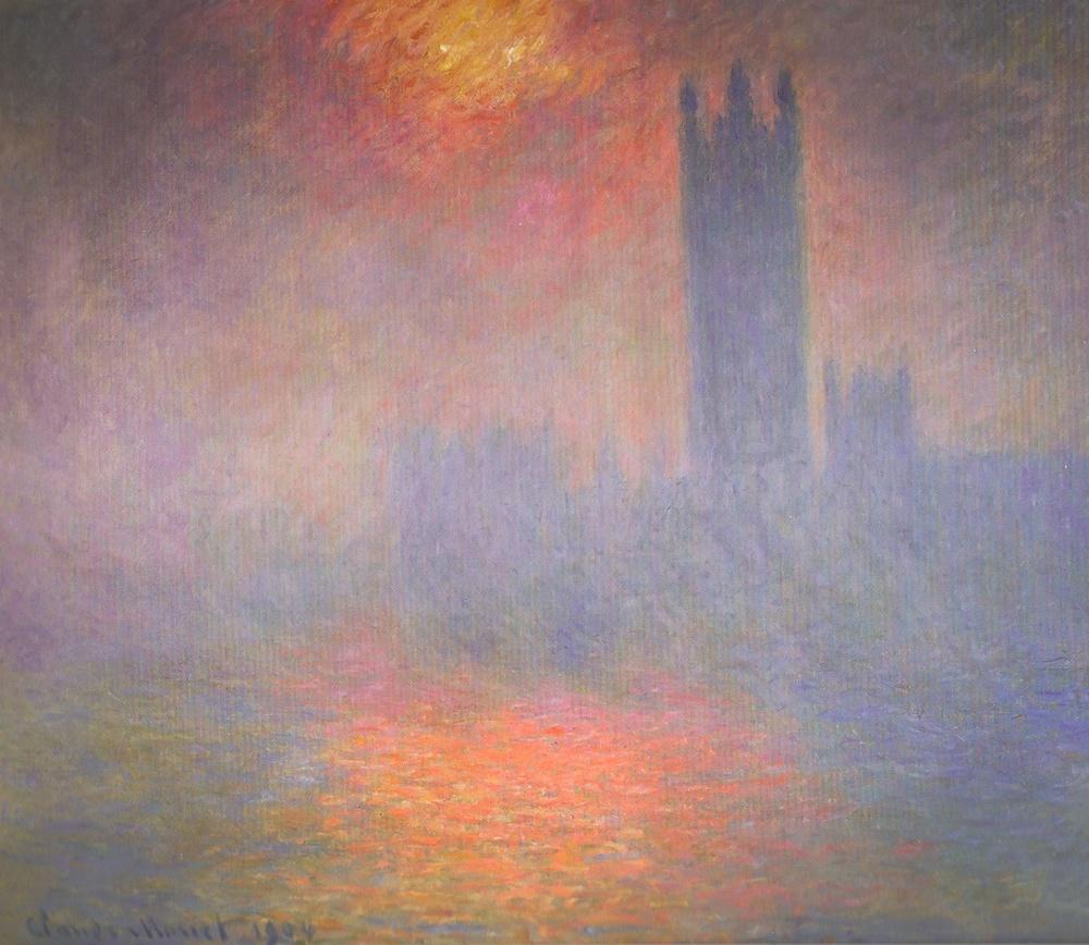 Trouée de soleil dans le brouillard ,  Houses of Parliament,  London, Sun Breaking Through the Fog, 1904,  Musée d'Orsay , Paris