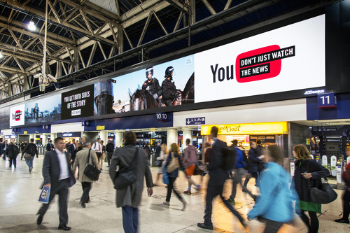"Digital OOH in Waterloo Station  — For the UK's largest outdoor video screen, we created a custom video that pitted footage of protestors and police facing off on either side of the headline: ""You Get Both Sides of the Story."" The video's below."