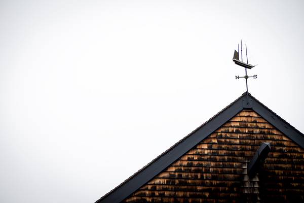 Architectural details and weathervane.