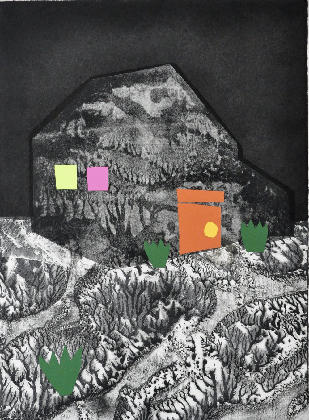 "Shelters Series #12  22x30"", monotype w collage"