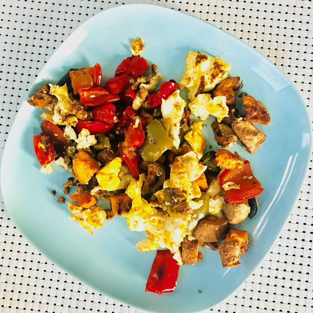 Everything but the Kitchen Sink Hash...  - Pre-prep your veggies and meat over the weekend when you have more time. During your hectic week, simply combine with eggs  for a quick wholesome breakfast, lunch, or dinner!