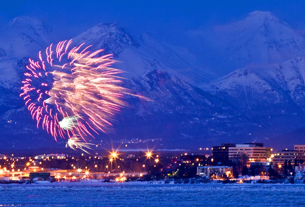 Fireworks over Anchorage to celebrate the annual Fur Rondy Festival