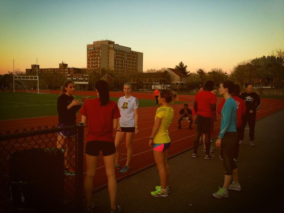 Victoria, Aly, Joy, Megan and Jenny discussing the workout at the Madison Park High School Track in Boston, MA