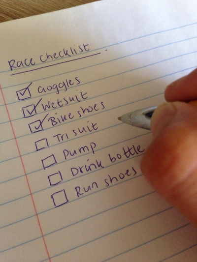 Have a race checklist at hand!