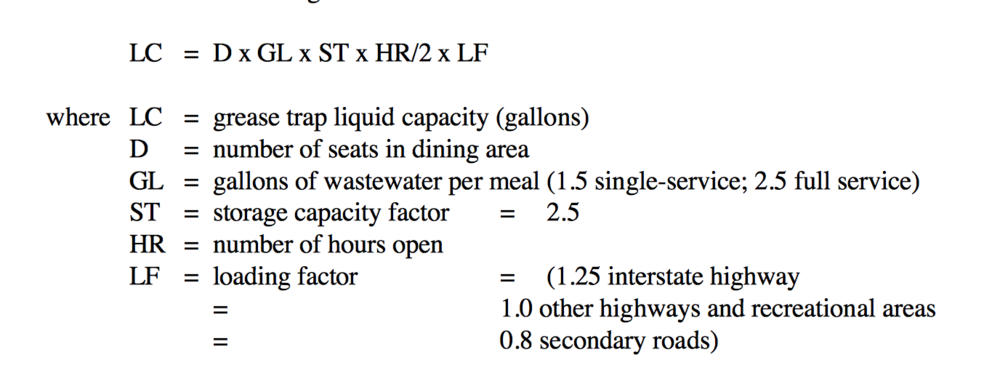 Grease Trap Liquid Capacity