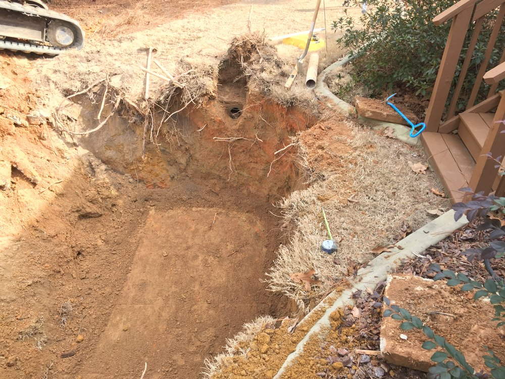 A view from above the septic tank hole