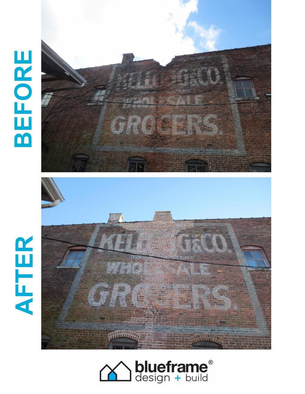 Progress on our Richmond property for buleframe design + build.  view of the ghost sign before and after repairs to the brick and chimney.  we are taking small steps to big changes.