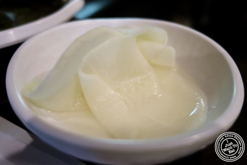 image of pickled radish at Madangsui Korean BBQ in NYC, New York