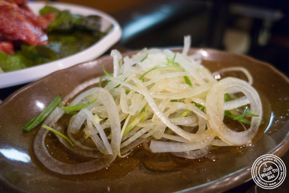 image of onions at Madangsui Korean BBQ in NYC, New York