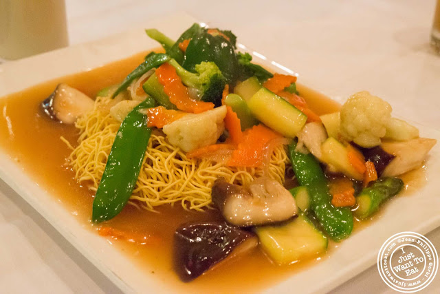 Image of Cantonese pan fried noodles at Zen Palate in NYC, New York