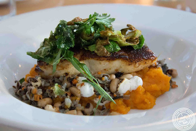 image of blackened halibut with sweet potatoes and toasted marshmallows at Kitchenette in Montreal, Canada
