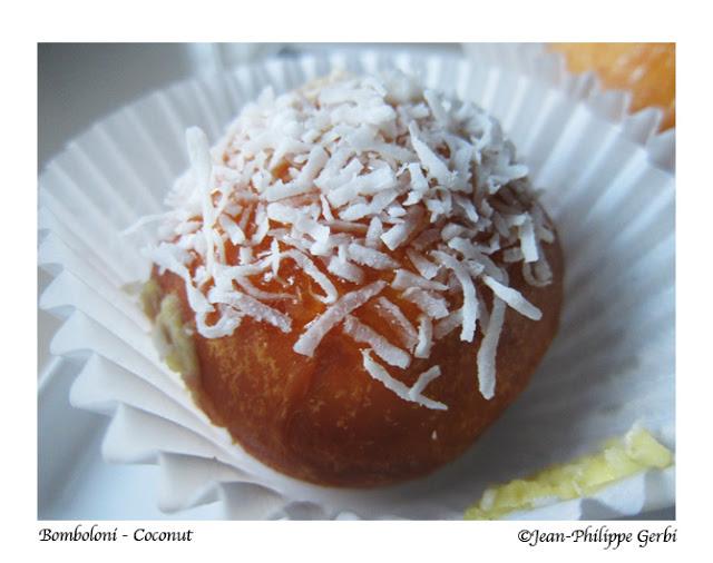 Image of a Coconut Italian doughnut donut at Bombolini in UWS NYC, New York