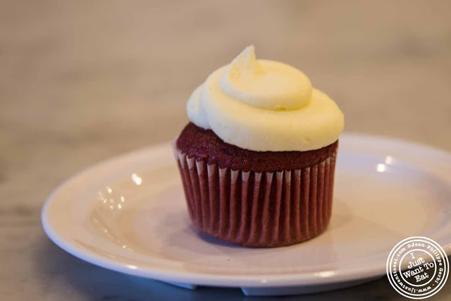 image of red velvet cupcake at Molly's cupcakes in the West Village, NYC, New York