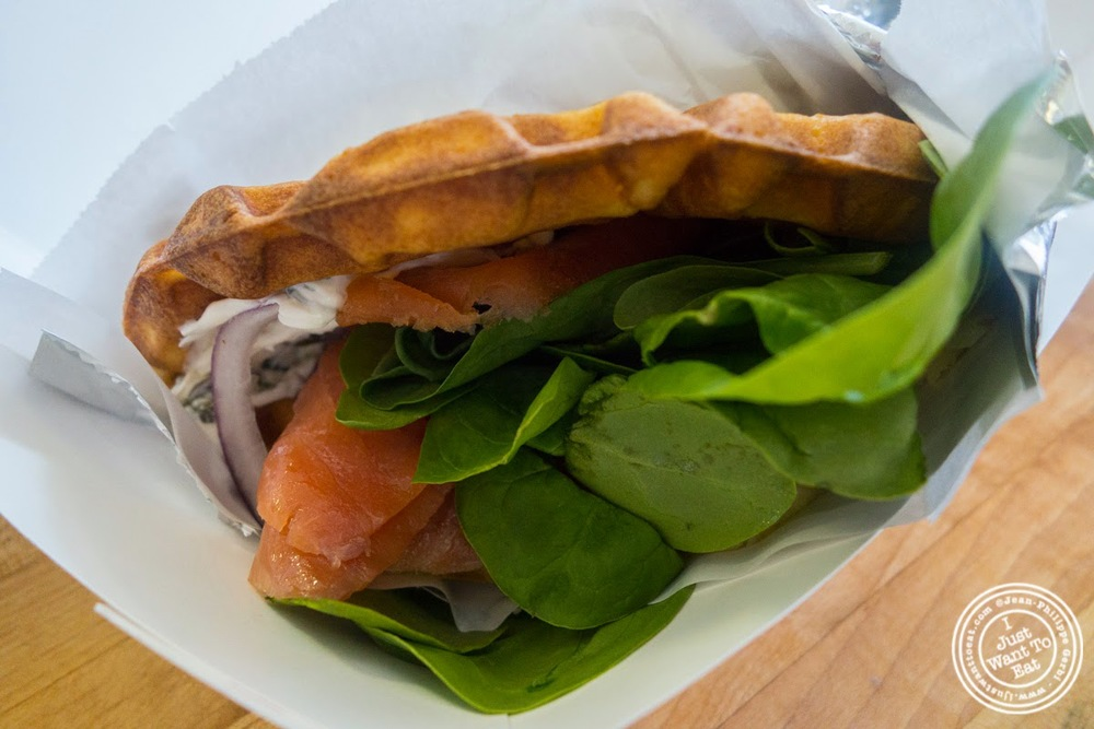 image of smoked salmon and cream cheese at Waffle and Wolf in Brooklyn