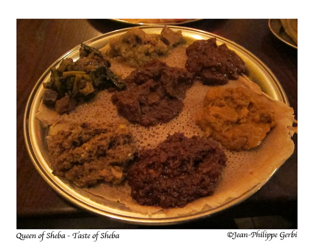 Image of Meat combination plate at Queen of Sheba Ethiopian restaurant in NYC, New York