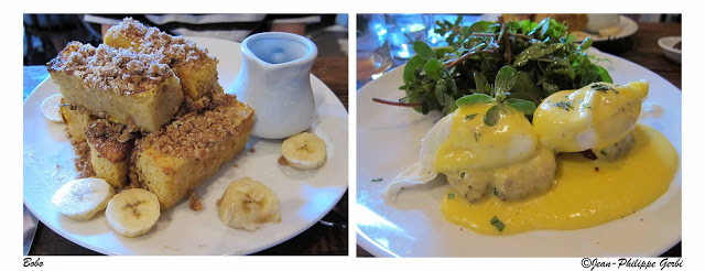 image of brunch French toast and eggs benedict at Bobo in NYC, New York
