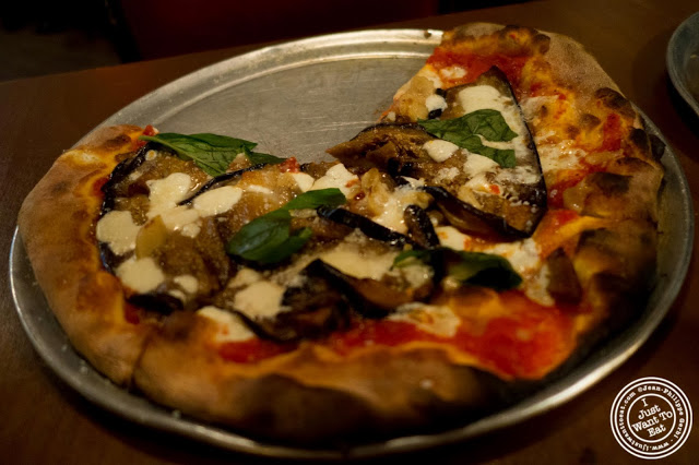 image of eggplant parmesan pizza at Capizzi  in Hell's Kitchen, NYC, New York