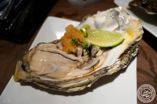 image of Jumbo Pacific Oyster at Jukai, Japanese restaurant Midtown East, NYC, New York