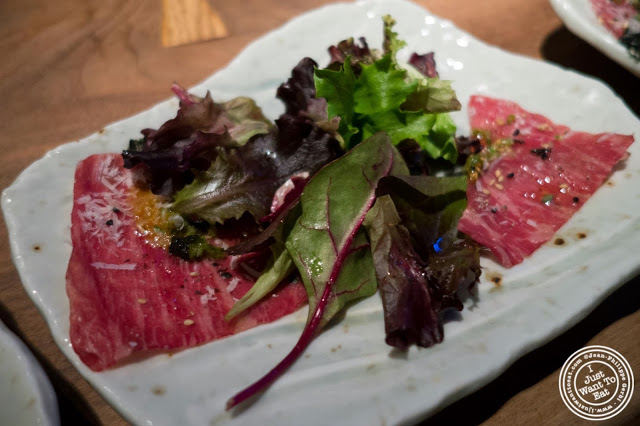 image of beef carpaccio at Jukai, Japanese restaurant Midtown East, NYC, New York
