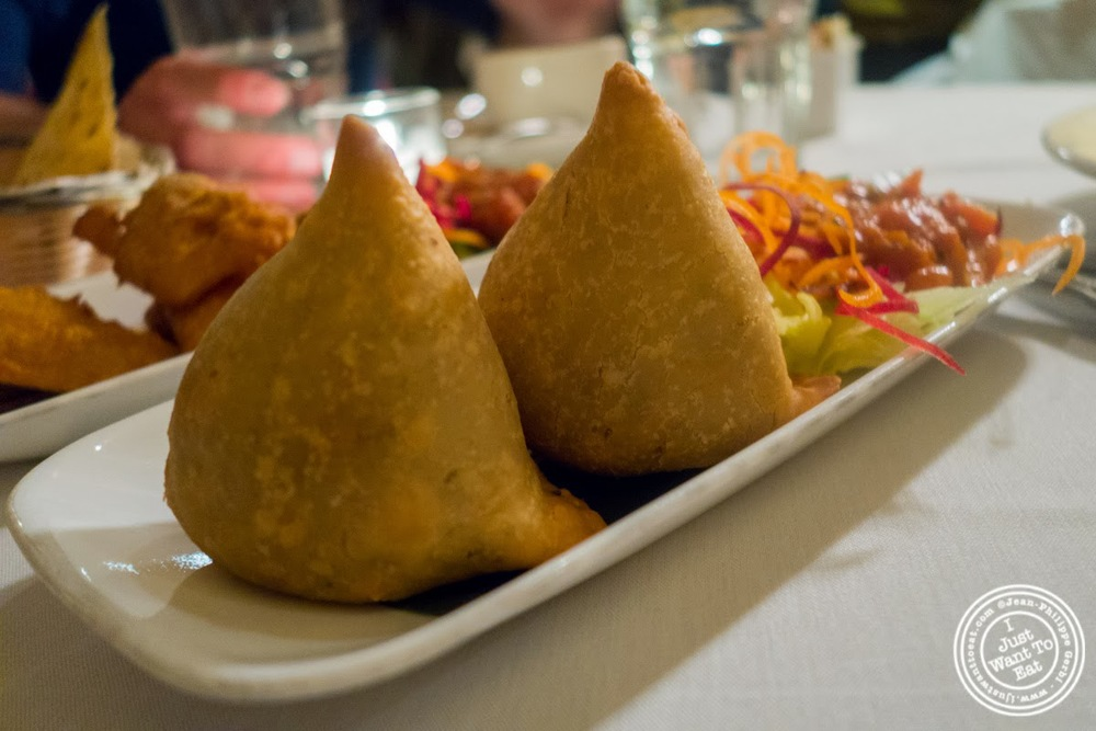 aloo or potato samosa at Brick Lane Curry House in the East Village, NYC, New York