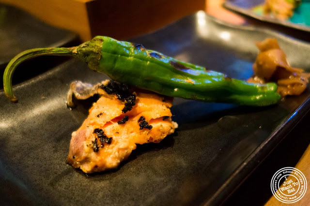 image of Salmon marinated in sake at Jukai, Japanese restaurant Midtown East, NYC, New York