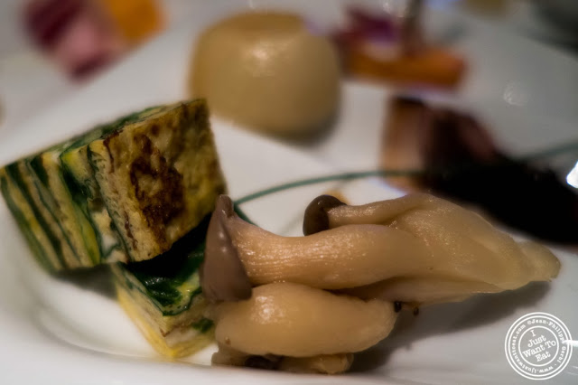 image of Pickled mushrooms and egg omelette with spinach at Jukai, Japanese restaurant Midtown East, NYC, New York