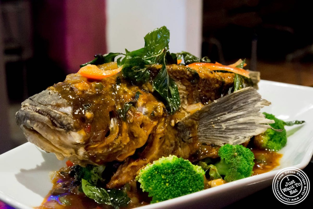 image of whole sea bass at E-San Thai in Murray Hill, NYC, New York