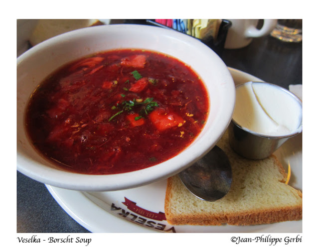 Image of Borscht soup at Veselka in the East Village NYC, New York