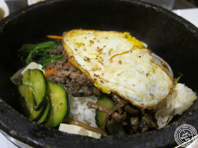 image of bibimbap rice bowl at BCD Tofu House in Korea Town NYC, New York