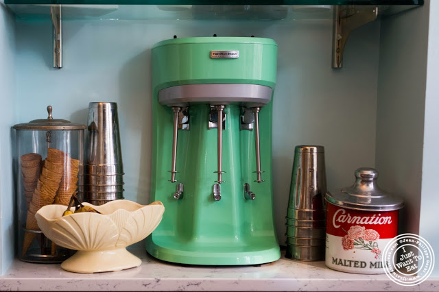 image of milkshake machine at Schnackenberg's in Hoboken, NJ