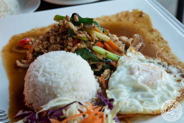 image of Pad Grapow Moo Kai Dow at Glow Thai restaurant and lounge in Bay Ridge Brooklyn, New York