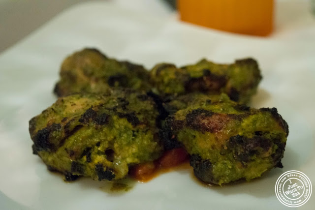 image of Haryali chicken tikka at Tulsi, Indian restaurant in Midtown East, NYC, New York