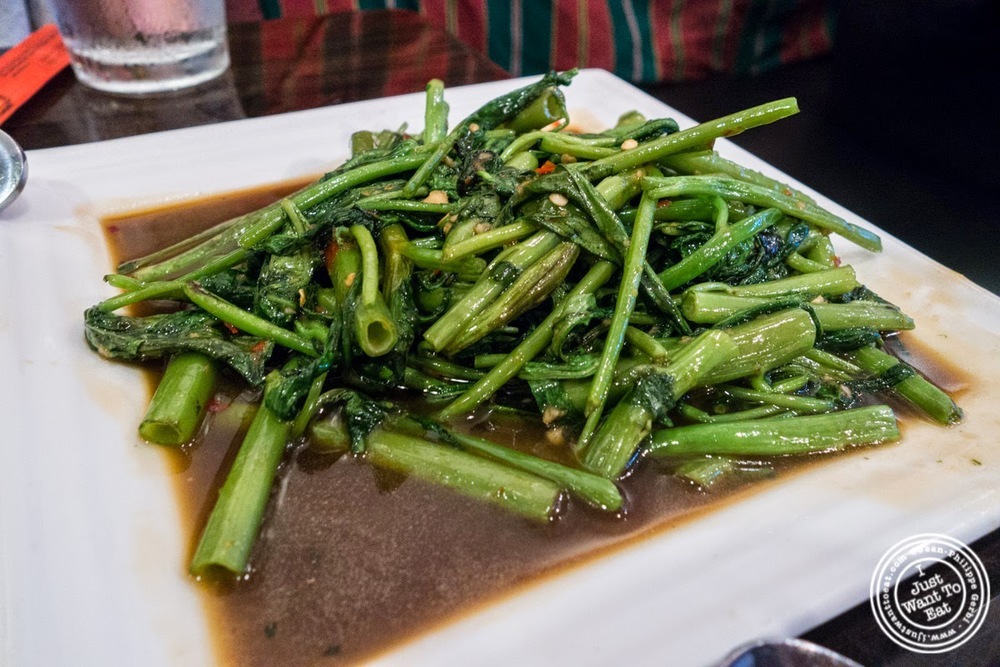 Pukk Boong Fai Dang at Larb Ubol, Thai restaurant in Hell's Kitchen, NYC, New York